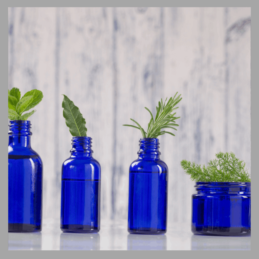 4 blue glass bottles with greenery in them