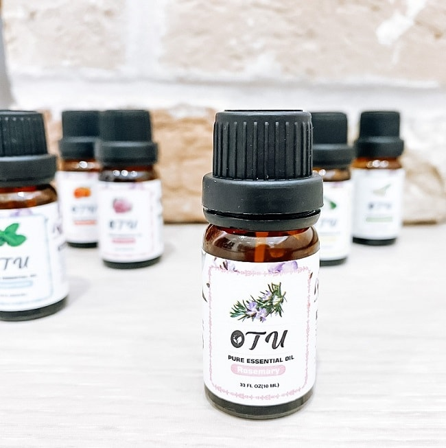 A bottle of Rosemary essential oil.  What can I use Rosemary essential oil for?